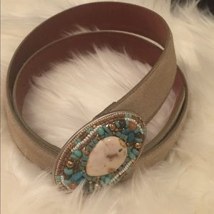 Suede Belt with Embellished Buckle | Size Medium